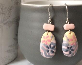 Floral mist zebra drop earrings
