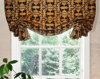 "Brown Gold Faux Silk Velveteen Faux Shade Scroll Custom Window Valance Faux Window Shade London 46"" Wide"