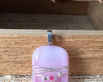 Light Pink Fused Glass Pendant with Bead Accent