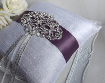Silk Ring Pillow, Ring Bearer Pillow, Purple Silk Ring Pillow, Wedding Ring Pillow, Elegant Ring Pillow, Silver Ring Cushion