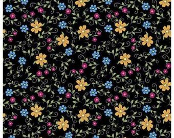 Sugar Skull Fabric, Folk Skulls Floral Fabric, 100% Cotton Fabric by the yard