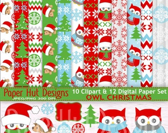 Christmas Digital Papers-Christmas Clipart-Holiday-Christmas Clip Art-Owl-Hedgehog-Snowflakes-Christmas Tree-Green and Blue-BUY2GET1MOREFREE