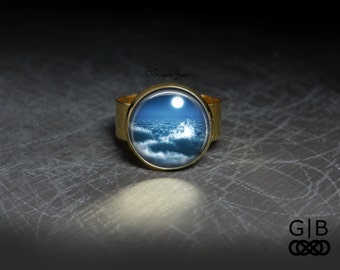 ON SALE Moonlight Sonata Ring Clouds and Moon Adjustable Ring - Moon Light and Clouds Ring - Moonlight Cloud Jewelry Ring - Clouds and Moon