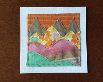 SALE, Fabric notecard, sewn note card, fabric card, sunset card, mountain card, blank card (orange, pink, taupe and green mountains)