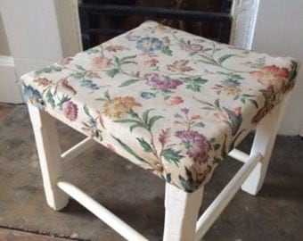 French Vintage Stool White Floral