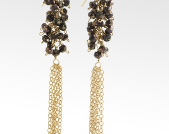 Gold filled faceted coffee coated spinel tassel earrings