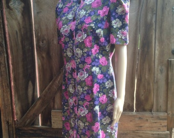 80s floral dress, 90s floral dress, 80s mini dress, 90s mini dress, hipster floral dress, pink and purple  dress, puff sleeve dress