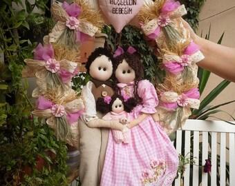 Door Wreath Handmade Displaying Family Members