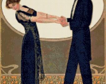 1911 Art Nouveau Edwardian Dancers Cross Stitch pattern PDF - Instant Download!