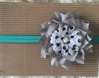 Teal and Gray Headband, Black and White Polka Dot Headband, Newborn, Baby, Toddler, and Child Headband, Hairflower