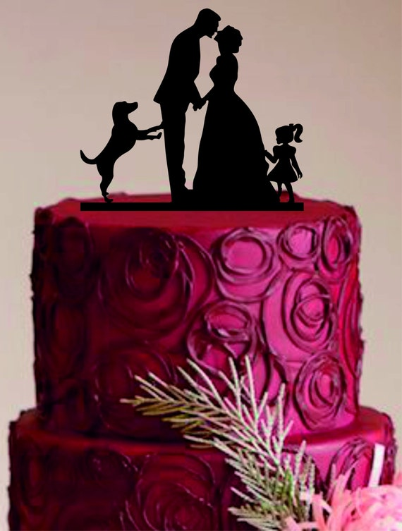 Family Wedding Cake Topperwith Dog And Little Girl Funny