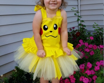 Pikachu Inspired Costume, Pikachu Birthday Outfit, Pikachu Halloween Costume, Pikachu Tutu and Top, Pikachu Dress up Outfit