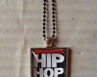 Hip hop glass cameo cabochon pendant handmade necklace jewelry rap music dj deejay 90s locket