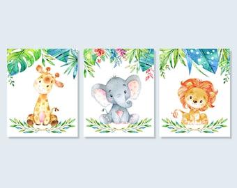 Baby Animal Safari Nursery Art Jungle Print Set, Baby Giraffe Elephant Lion Baby Shower Decor Printable Wall Art 5x7 8x10 Digital Download