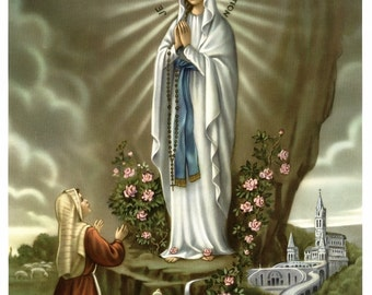 OUR LADY of LOURDES & St. Bernadette Soubirous Grotto Apparition Picture Print 8x10 Catholic Art From Germany