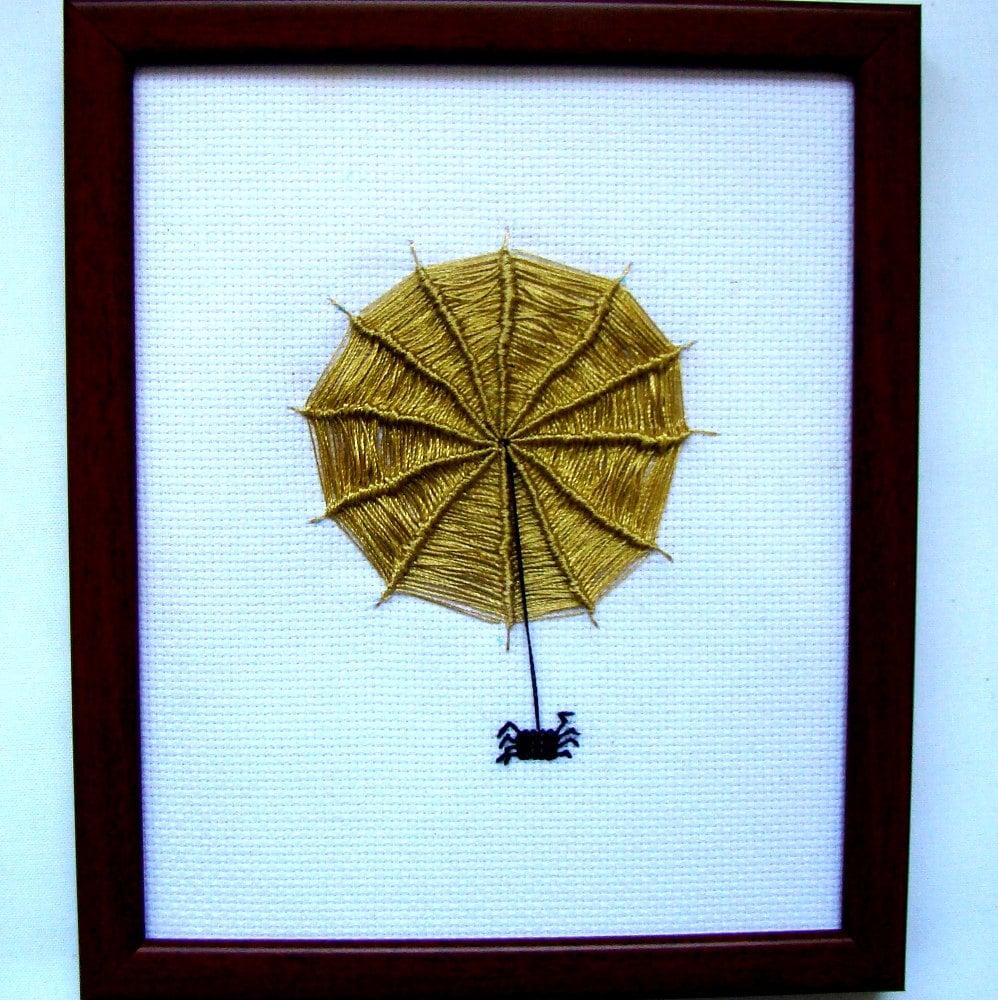 Wall Decor Cross Stitch : Cross stitch spider picture wall d?cor nursery gift
