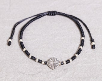 Black Silver Bracelt, Siver Charm Bracelet/Silver and Black Anklet,  B104