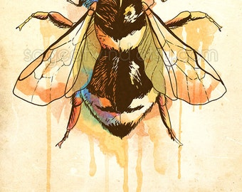 """Watercolor Bumble Bee Insect 5x7"""" Print"""