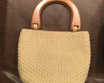 Talbots Tan Woven Purse with Wooden Handles