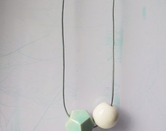Abstract minimal geometrical design ceramic pendant necklace