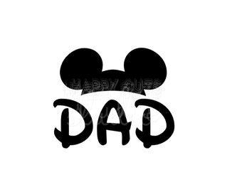 Dad Mickey and Minnie Mouse Ears  Matching Family DIsney Vacation Classic Red Cheer Team Sports Disney Iron On Decal Vinyl for Shirt 008
