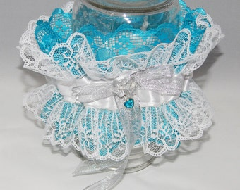 Turquoise & White Lace Arm Garter