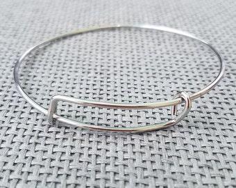 """1 Stainless Steel Expandable Bangle Bracelet, Stainless steel adjustable bracelet, stainless steel bangle, 8"""" bracelet B78484"""