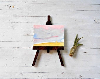 Original painting in watercolor, Aceo painting, pink, blue and yellow abstract sunshine on a desert, ACEO collection