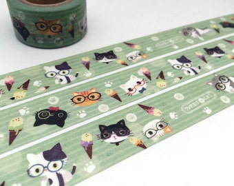 Lovely Cat tape 10M Cute cat washi tape funny cat pussy cat baby cat sticker tape cat planner cat diary scrapbook meow meow gift wrapping