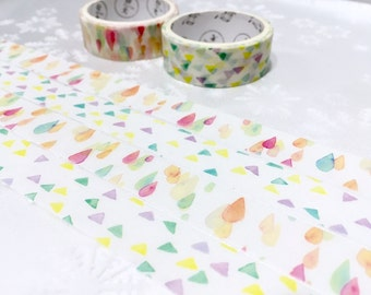 2 rolls Drops pattern triangle pattern Washi tape pretty pattern Masking tape Watercolored rain drop shapes sticker tape colorful sticker