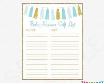 Pink and gold baby shower gift list printable gift list baby printable gift list boy baby shower guest sign in sheet blue and negle Gallery