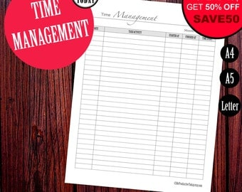 Monthly Time Management, Printable Time Tracking Page, Project Planner, Daily Working Hours, Daily Agenda, A4, A5, Letter, Filofax Printable