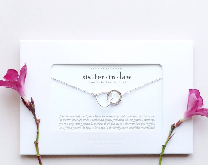 Sister In Law | Sister-in-Law Wedding Gift For Brother's Fiancee / Future Bride | Sterling Silver Heart Circle Necklace Poem Message Card