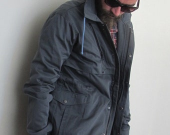 Vintage Men Grey Drawstring Jacket