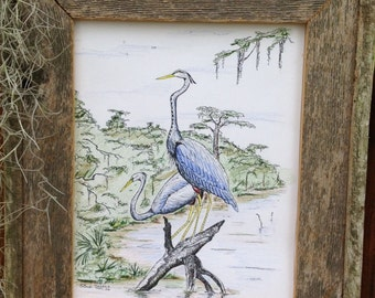 Blue Heron pair in swamp Pen and Ink Drawing art print, Father's Day, Louisiana Art, Bird art, Cajun decor, Louisiana Swamp, Gift for him