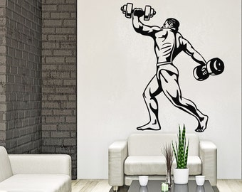 Body-Building Wall Decal Sports Athlete Wall Decals Vinyl Stickers Teens Boys Nursery Baby Room Home Decor Art Bedroom Design Interior C276