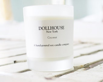 Coconut Candle - 100% Natural Soy Candle White Frosted Glass 2 FOR 26.00