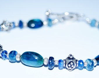 Green and Blue Kyanite and Sterling Silver Bracelet