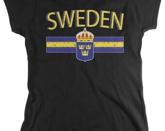 Distressed Sweden Ladie T-Shirt, Sweden Flag, Swede, Sverige, Kingdom of Sweden, Women's Sweden Soccer Shirts AMD_SWE_01