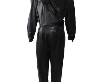 Vintage Thierry Mugler Black Leather Jumpsuit 1980s