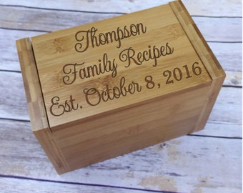 Personalized Family Recipe Box - Bamboo Recipe Box - Laser Engraved Recipe Box - Gift for Newlyweds - Housewarming Gift - Dividers included