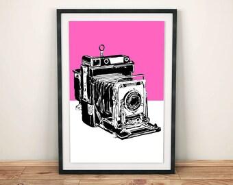 Vintage Graphex Camera in pink pop art modern minimalist urban print