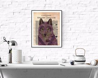 Mauve Wolf Dictionary Page Art Print,Vintage  Dictionary Page Art,Vintage Art Print ,Printable Boys Room, Kids Room Printable,Crimson wolf