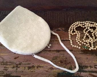 Vintage 1950s Richere Handmade Ivory Glass-Beaded Evening Bag