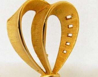 Vintage Brooch, Double Loop Brooch,  Geometric Brooch, Geometric Pin, Mid Century, Gold Tone Brooch, Vintage Pin