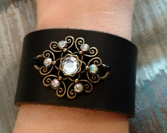 Jeweled Black Leather Cuff