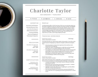 Teacher resume template etsy 2 page teacher resume template for word includes cover letter educator resume mac altavistaventures Images
