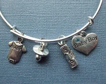 Baby Bangle - Baby Boy Bracelet - Bangle - Baby Jewelry - New Baby Jewelry -  Charm Bracelet - Bangle - Baby Boy -- B137