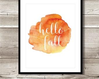 Hello Fall Watercolour digital print; thanksgiving, fall, autumn; instant download, wall art; 8x10