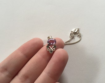 Gorgeous Elegant Vintage Pink/Lavender Amethyst and Marcasite 925 Sterling Silver Pendant Necklace